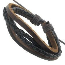 Cool Mens Guys Friendship Boys Brown Leather Braided Surfer Bracelet