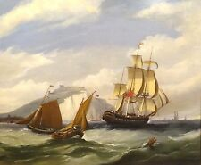 Fine Large 19th Century British Navy Ships Sailing Antique Oil Painting GREGORY