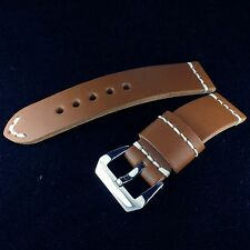 24mm Dark Brown 100% Cow Leather Band Strap Pre-V Buckle fit 44mm Panerai Watch