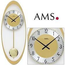 AMS 44 WALL CLOCK QUARTZ WITH PENDULUM BRASS COLOURED living room 612