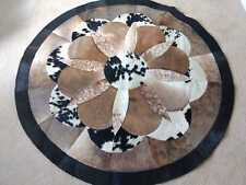 Cowhide Patchwork Rug Sale 5x5 ft Real Cow Skin Area Rug Floral Leather Rug