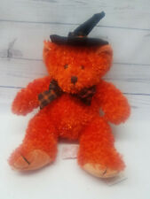 "Russ Berrie Hocus Orange Teddy Bear Halloween 9"" W Tags Handmade Stuffed Plush"