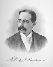 CHARLES I. HUDSON New York Wall Street Financier  - 1895 Portrait Antique Print