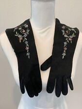 Vintage Lady Gay Black Floral Embroidered Gloves Size 7 1/2
