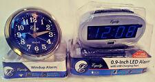 2 PACK EQUITY ALARM CLOCKS LED DIGITAL ALARM LARGE DISPLAY & WINDUP ALARM NEW!