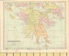 c1890 MAP ~ PELOPONNESUS ~ARCADIA MESSENIA ACHAIA ARGOLIS