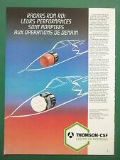 5/1985 PUB THOMSON CSF ELECTRONIQUE MILITAIRE RADAR RDM RDI DOPPLER FRENCH AD