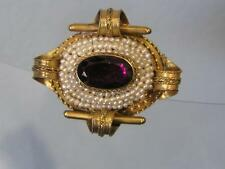 Antique Victorian 14kt Gold Seed pearl Amethyst Pendant Pin brooch