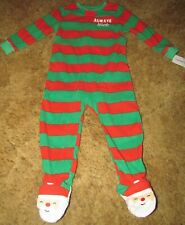 Toddler Boys Carter's Nwt Red/Green Microfleece Christmas Footed Pajamas size 2T