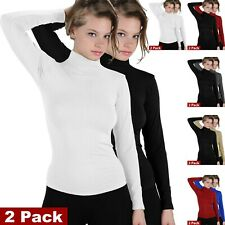 2-Pack Women Long Sleeve Seamless Stretch Turtleneck Mock Neck Slim Fit Shirts