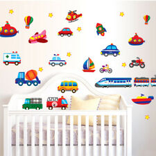 Airplane Train Car Truck Boat Rocket Bulldozer Removable Wall Sticker Kids Boys