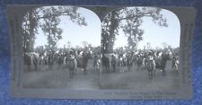 Nebraska Sioux Indians in Full Feather Leaving Camp on Horses Stereoview