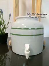 Water Crock Green Stripe Porcelain Ceramic Water Dispenser with Tomlinson Faucet