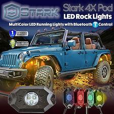 4PCS CREE RGB LED Multi-Color Offroad Rock Lights Bluetooth Music Flashing (A)