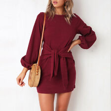 Womens Casual Long Sleeve Front Tie Dress Bodycon Party Short Mini Dresses 2 - 8