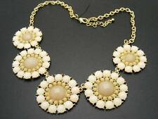 """$24 Stephan & Co Flower Statement Necklace Off-White Ivory Cabochons 21"""" Long"""