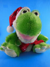 """Frog Plush Hand puppet croaking Plush with Christmas winter scarf & Hat 11"""" tall"""