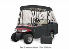 Drivable Golf Car Cart Enclosure Cover - Fits 4 Person Seat / 2 Pass.Roof -Black