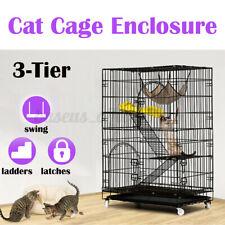 3-Tier Cat Cage Playpen Kennel Crate Chinchilla Rat Box Enclosure Ladder Hammock