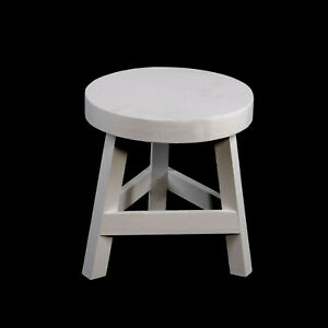 White Wooden Stool Three Legged Seat Home Child Play Room Decor 23 cm High