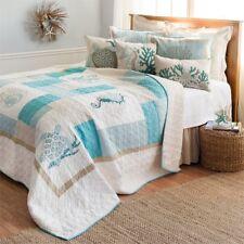 Saltwater Serenity Cotton Coastal King Patchwork Quilt 3 Pc Set Blues,Tan+White