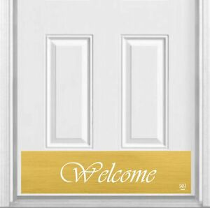 """Script Welcome Magnetic Door Kick Plate Sign, 8"""" x 34"""" and 6"""" x 30"""" Size Options"""
