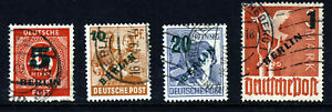 BERLIN GERMANY 1949 Complete Surcharged & Overprinted Set SG B64 to SG B67 VFU