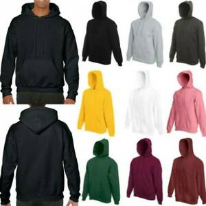 Men Women Plain Hoodie Sweatshirt Sport Hooded Sweater Hoody Jumper Pullover Top