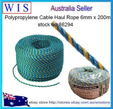 TELSTRA Rope 6mm x 200m,Polypropylene Blue/Yellow Rope,Telstra Pull Through Rope
