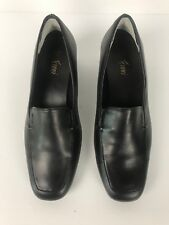 Fioni Womens Slip on Court Shoes Black Leather Size 61/2
