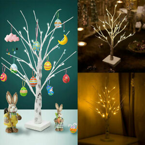 60cm White Easter Tree LED Light Up Twig Tree for Ornaments Hang Eggs Home Decor