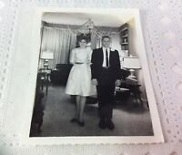 Vintage Photo Prom Date Living Room Weird Decorations Snapshot Teens Boy & Girl