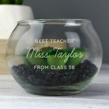 Personalised Glass Terrarium Flower Pot New Home Teacher Wedding Gift