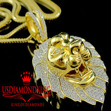 10K Yellow Gold Over Real Silver Lab Diamond Mens King Lion Head Pendant Charm