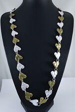 "Matt Silver and Antique Brass Beaten Rustic Romantic Hearts Long Necklace 39.5"""
