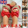 Womens Slip On Sandals Bow Flat Mule Summer  Espadrille Shoes Sizes