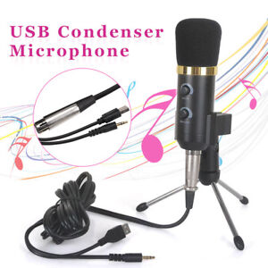 PC USB Podcast Studio Condenser Recording Microphone Vocal Singing Mic Stand NEW