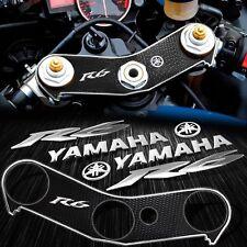 "Handle Bar Yoke Cover Black+Chrome 6"" Logo+Tank Emblem Sticker for 06-16 YZF R6"