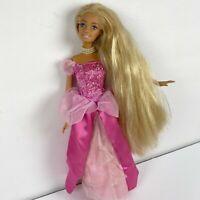 Vintage 90's Barbie Doll Pink Dress Pearl Necklace Long Blonde Hair Mattel