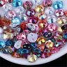50Pcs Round DIY Sew On Acrylic 2Holes Crystal FlatBack Colorized AB Loose Bead