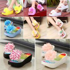 Summer Sandals Wedges Flip Flop Platform Slipper Women Fashion Flower Rubber PVC