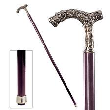 Italian Pewter Gothic Dragon Handle Polished Hardwood Cane Walking Stick