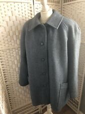 EVANS COLLECTION Plus Size 24 100% Pure New Wool Grey / Blue Button Up Coat