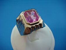 14K ROSE GOLD RUSSIAN ORIGIN LARGE MEN'S RING WITH PINK STONE, 9.1 GRAMS,SIZE 11