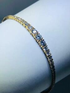 18k Gold Sterling Silver White Sapphire Graduated Design Tassel Tennis Bracelet