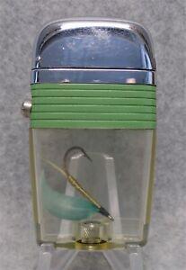 Vintage Scripto Vu Green Band Fish Hook  advertising lighter NICE