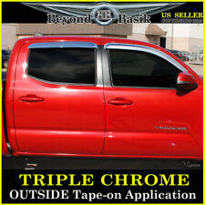 2016-2019 Toyota Tacoma 4DR Double Cab 4PC Chrome Door Vent Visors Rain Guards