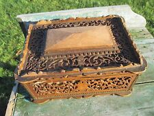 Vintage Carved Wood Ornate Treasure Chest Trinket Jewelry Box Gorgeous
