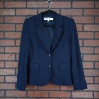 BOSTON PROPER Navy Button Front Career Blazer Jacket Womens Size 6