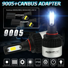 NIGHTEYE 9005 HB3 9000LM 72W COB LED Headlight Kit Bulbs 6500K w/Canbus Adapter